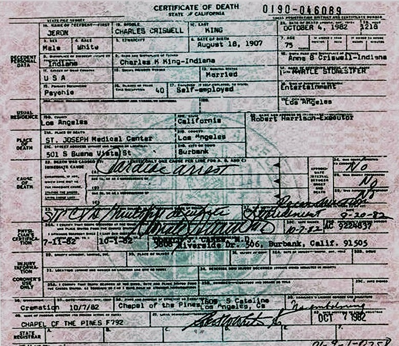 The gallery for --> Liberace Death Certificate